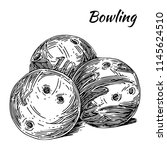 three balls for bowling. sketch.... | Shutterstock .eps vector #1145624510