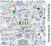 india doodle set. traditional... | Shutterstock .eps vector #1145640656