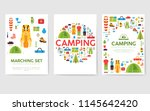 camping trip cards set. hiking... | Shutterstock .eps vector #1145642420