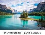 spirit island in maligne lake... | Shutterstock . vector #1145660039