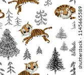 seamless pattern with tiger ... | Shutterstock .eps vector #1145665589