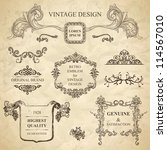 set of emblems for vintage... | Shutterstock .eps vector #114567010