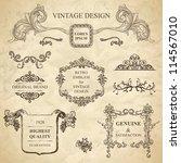 set of emblems for vintage... | Shutterstock .eps vector #114567010