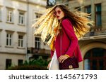 outdoor fashion portrait of... | Shutterstock . vector #1145671793