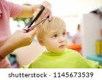 preschooler boy getting haircut....   Shutterstock . vector #1145673539