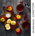 autumn tea drink  compote  from ... | Shutterstock . vector #1145677199