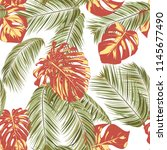 summer exotic floral tropical... | Shutterstock .eps vector #1145677490