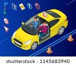 isometric driving school... | Shutterstock .eps vector #1145683940