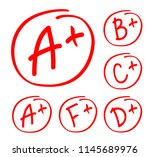grade results set. hand drawn... | Shutterstock .eps vector #1145689976