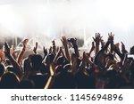 concert crowd at rock concert   Shutterstock . vector #1145694896