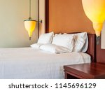 comfortable pillow on bed with...   Shutterstock . vector #1145696129