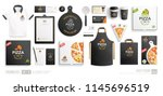 pizza shop  restaurant black... | Shutterstock .eps vector #1145696519
