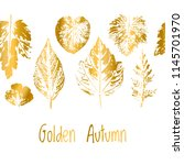 golden autumn border. leaf fall.... | Shutterstock .eps vector #1145701970