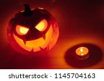 jack o lantern pumpkin orange... | Shutterstock . vector #1145704163