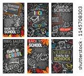 back to school sale banner on... | Shutterstock .eps vector #1145708303