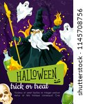halloween greeting poster with... | Shutterstock .eps vector #1145708756