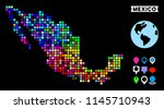 bright colored pixel halftone... | Shutterstock .eps vector #1145710943