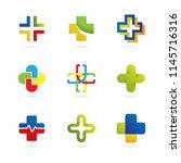 set of abstract cross logo... | Shutterstock .eps vector #1145716316