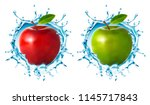 apple and water splash isolated ... | Shutterstock .eps vector #1145717843