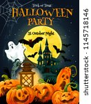 halloween party poster for... | Shutterstock .eps vector #1145718146