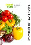 fresh vegetables on the white... | Shutterstock . vector #114573496