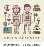 explorers characters and... | Shutterstock .eps vector #1145735000