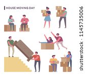 house moving day people flat... | Shutterstock .eps vector #1145735006