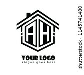 initial letter a  h  ah house... | Shutterstock .eps vector #1145741480