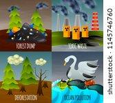 ecological problems flat design ... | Shutterstock .eps vector #1145746760