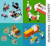 restaurant isometric design... | Shutterstock .eps vector #1145746859