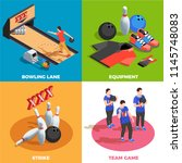 bowling equipment team of... | Shutterstock .eps vector #1145748083