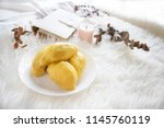mao shan wang durian on a white ... | Shutterstock . vector #1145760119
