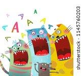 fun cats and mouse karaoke... | Shutterstock . vector #1145760203