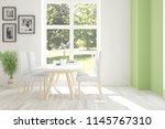 white dinner room with green...   Shutterstock . vector #1145767310