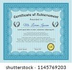 light blue diploma template or... | Shutterstock .eps vector #1145769203