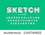 3d style sketchy font  alphabet ... | Shutterstock .eps vector #1145769833