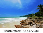 blue sky on beach of thailand | Shutterstock . vector #114577033