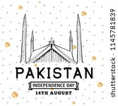 pakistan independence day. 14th ... | Shutterstock .eps vector #1145781839