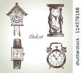 Hand Drawn Set Of Clocks And...