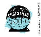 merry christmas. typography.... | Shutterstock .eps vector #1145783096