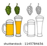 glasses of beer with wreath of... | Shutterstock .eps vector #1145784656
