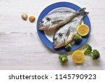 dorado fish  with lemon ...   Shutterstock . vector #1145790923