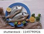 dorado fish  with lemon ...   Shutterstock . vector #1145790926