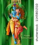 vector design of lord krishna... | Shutterstock .eps vector #1145801510
