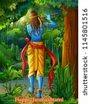 vector design of lord krishna... | Shutterstock .eps vector #1145801516