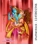 vector design of lord krishna... | Shutterstock .eps vector #1145801546