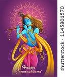 vector design of lord krishna... | Shutterstock .eps vector #1145801570