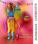 vector design of lord krishna... | Shutterstock .eps vector #1145801573