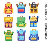 school backpack set. kids... | Shutterstock .eps vector #1145806709