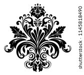 damask graphic ornament. floral ... | Shutterstock .eps vector #1145818490